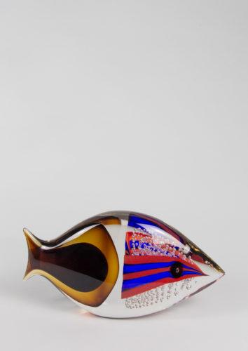 Pesce con bolle blu rosso ambra