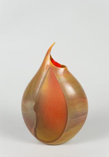 Vaso bamboo mezza luna arancio battuto