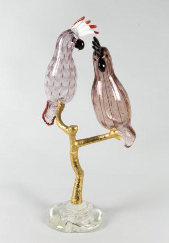 Pappagalli filigrana su ramo