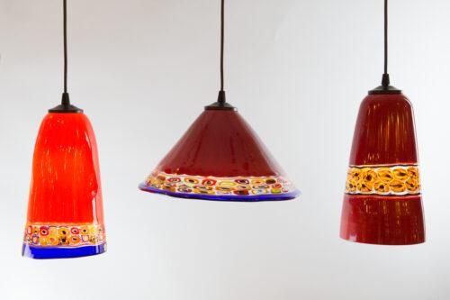 Lanterne rosse con inserti murrine multicolor