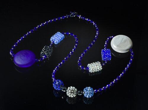 Collana tondi vetro soffiato blu cobalto grigio