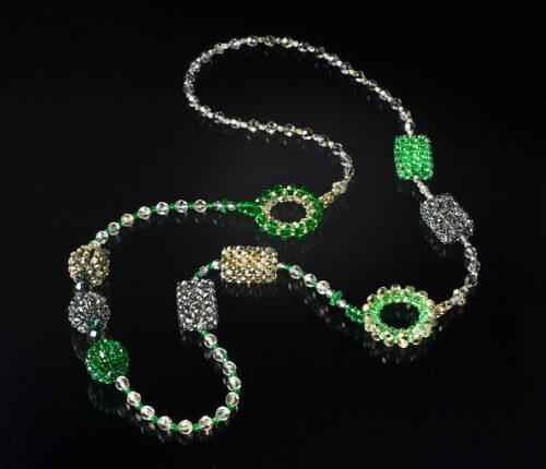 Collana verde smeraldo, oro e grigio