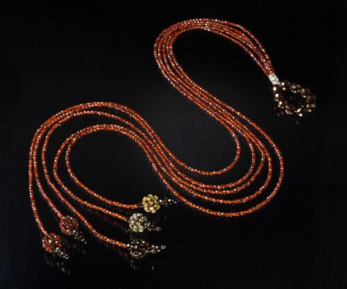Collana 5 fili arancio scuro